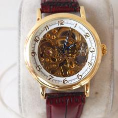 Ceasuri SKELETRON ceas AUTOMAT curea PIELE 18@ - Ceas barbatesc Rolex, Mecanic-Automatic