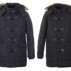 Palton barbati, Poliester - Palton / parka barbati, cu gluga si blanita, art.41399H, negru si albastru