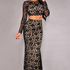 Costum dama - T405-1 Compleu elegant din dantela - top si fusta lunga