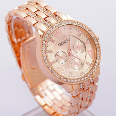 Ceas dama GENEVA auriu rose bratara metalica cristale superb+cutie simpla cadou, Quartz, Metal necunoscut, Nou