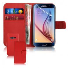 Husa Samsung Galaxy ACE 4 portofel rosu + folie protectie, Piele Ecologica, Cu clapeta