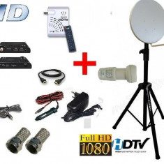 Sistem complet satelit - Antena tv HD auto, camping pentr Focus sat sau Freesat cu trepied