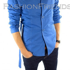 Palton tip ZARA albastru - palton barbati - palton slim fit - cod 5363