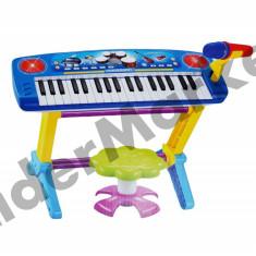Instrumente muzicale copii - Orga electronica cu scaunel si microfon pentru copii 0610 - albastra