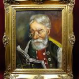 TABLOU SEMNAT, PICTURA IN ULEI PE PANZA - Pictor strain, Portrete, Realism