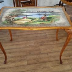 Mobilier, Mese si seturi de masa, Rococo, 1900 - 1949 - PRET REDUS 20%. Masa rococo. Blat din placi de faianta pictata.