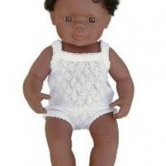 Baby Afroamerican Baiat Miniland 38 Cm - Papusa