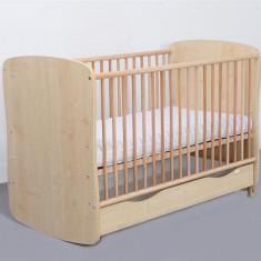 Patut Copii Lemn Sertar MYKIDS SERENA Cu Leg Natur 3613 - Patut lemn pentru bebelusi