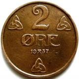 NORVEGIA, 2 ORE 1937, Europa, An: 1937, Cupru (arama)