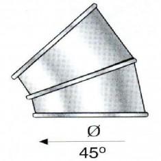 Cos fum - Cot 45 de grade pentru cosuri de fum izolate din inox Hi Line Plus - 550 x 450 mm