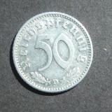 GERMANIA NAZISTA 50 FENINGI 1940 D / CU EROARE LA R DE LA REICHSPFENNIG, Europa, An: 1940