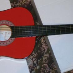 Chitara clasica incepatori cu corzi de metal si pana culoare rosu