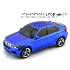 Mini Boxa portabila MP3 player + radio fm usb masina BMW X6 ALBASTRU