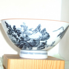 Bol (won) portelan japonez IMARI SOMETSUKE hand made- 1900-1910 - marcaj IMPORT - Arta din Asia