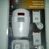 Sistem ALARMA wireless cu 2 Telecomenzi+ senzor miscare