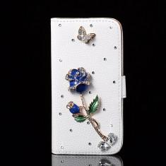 Husa HTC ONE MINI M4 flip portofel carte cu flori trandafir + 1 folie, 2016 - Husa Telefon HTC, Negru, Piele Ecologica, Cu clapeta