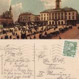 Carte Postala, Circulata, Printata - Cernauti ( Bucovina )-Piata si Primaria - rara, animata