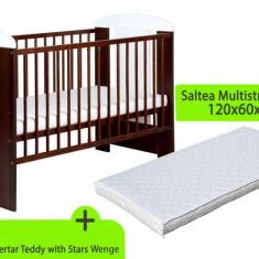 Pat copii - Patut KLUPS Teddy With Stars Wenge + Saltea MyKids Gryko