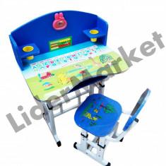 Birou pentru copii reglabil pe inaltime cu scaunel albastru si roz - Masuta/scaun copii