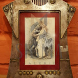 MISU TEISANU, IDILA, acuarela IN RAMA ART-DECO argintata - Pictor roman