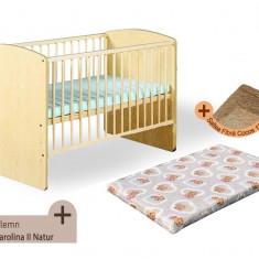 Pat copii - Patut fara sertar KLUPS Karolina II Natur + Saltea Fibra MyKids
