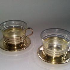 Set 2 cesti yena pentru servire ceai - anii '60 argintate