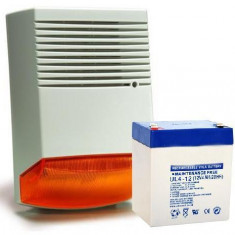 KIT SIRENA DE EXTERIOR SI ACUMULATOR 12V/4AH HC F6A KIT4 - Sisteme de alarma