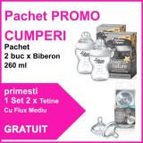Pachet Promo 2 Biberoane 260 Ml + Set 2 Tetine Flux Mediu Gratuit