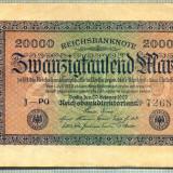 A 119 BANCNOTA-GERMANIA -20 000 MARK- anul 1923-SERIA 726814-starea care se vede
