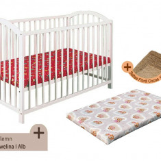 Pat copii - Patut fara sertar KLUPS Ewelina I Alb + Saltea Fibra MyKids