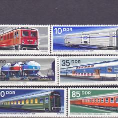 Timbre straine, Nestampilat - Transporturi, trenuri, vagoane, locomotive DDR.