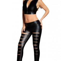 CL574-1 Leggings sexy din piele ecologica, model taiat - Colanti dama, Marime: M, S/M, M/L
