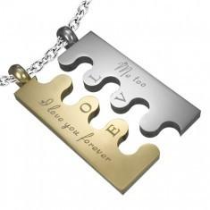 Pandantiv din oţel Puzzle, argintiu și auriu