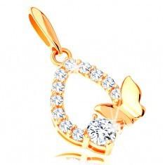 Pandantiv din aur 585 - contur lacrimă strălucitoare, fluture lucios şi zirconiu transparent - Pandantiv aur