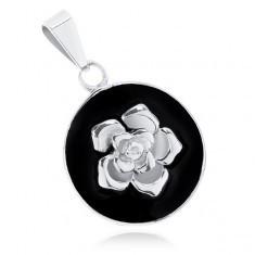 Pandantiv din oțel 316L, cerc negru mat, trandafir lucios argintiu - Pandantiv inox