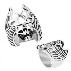 Inel din oţel în nuanţă argintie, patină neagră, craniu - coarne de cerb, aripi - Inel argint