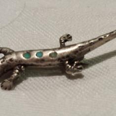 Brosa argint Salamandra vintage executata manual Finuta Delicata de Efect