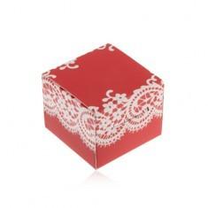 Cutie roșie cu alb pentru inel, cercei sau pandantiv, model cu dantelă - Cutie Bijuterii