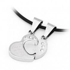 Pandantive pentru iubiţi – puzzle, inimi cu zircon