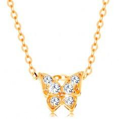 Colier din aur de 14K - lanţ lucios, fluture decorat cu zirconii transparente - Colier aur