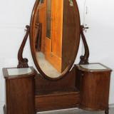 Toaleta din lemn masiv sculptat manual; Dulap; Comoda cu oglinda