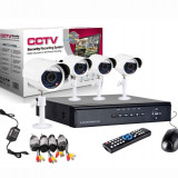 Kit Sistem supraveghere CCTV DVR 4 camere exterior Garanție 2 ani + Factură
