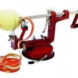 Dispozitiv pentru curatat, scobit si feliat mere si cartofi