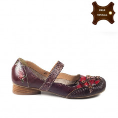 Pantofi dama casual din piele naturala FELICIA bordo (Marime: 38) - Pantof dama