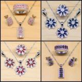Set Argint 925 - Sapphire albe/ Topaz - Cercei/Inel/Pandantiv - Femeie/6 Seturi