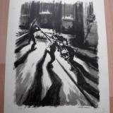 "LITOGRAFIE, MARCEL CHIRNOAGA ""OTELARI"" - Pictor roman, Abstract, Cerneala"