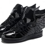 Vand ADIDAS JEREMY SCOTT wings 2.0 black patent - Adidasi barbati, Marime: 43, 44, Culoare: Negru