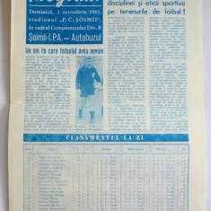 Program F.C. Soimii I.P.A. Sibiu - Autobuzul Bucuresti ~ 3 octombrie '82 - Program meci