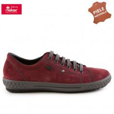 Pantofi dama piele naturala RIEKER M6104-36 bordo velur (Marime: 38) - Pantof dama