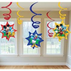 6 Spirale de agatat Mickey Mouse Star Party - Decoratiuni petreceri copii